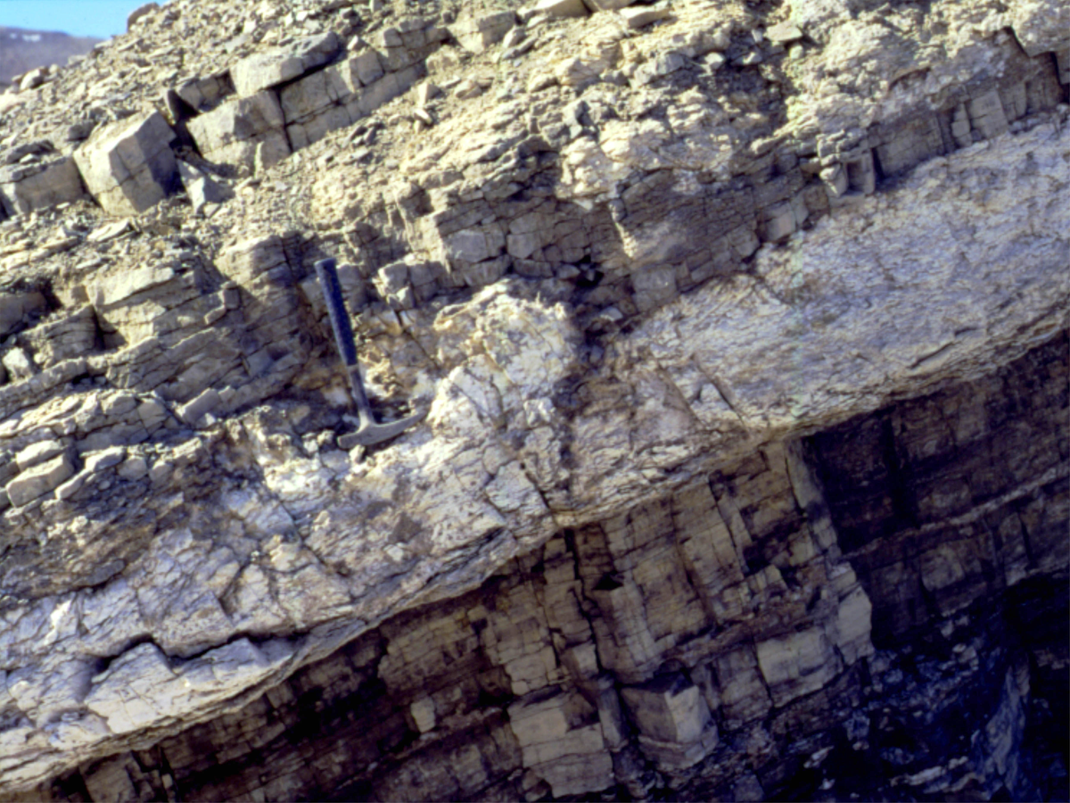 Thick gypsum bed in the 1.2 Ga Angmaat Formation, northern Baffin Island